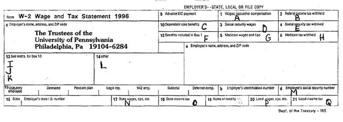 w2 form upenn  W-8 Form for Calendar Year 8