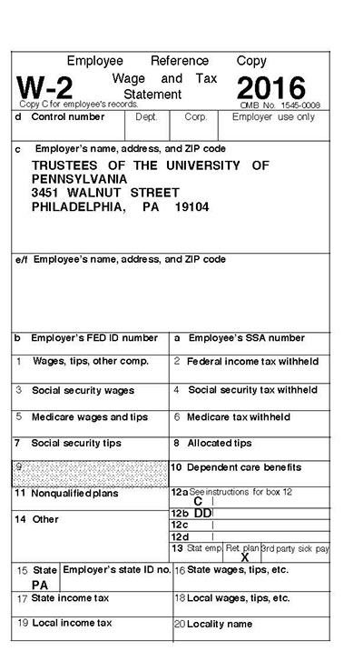 w2 form and tax return  Tax Forms For 13 | University of Pennsylvania Almanac