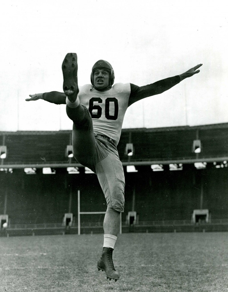caption: Chuck Bednarik, Class of 1949, was considered Penn's finest athlete. He played 12 seasons with the Philadelphia Eagles after playing at Penn.