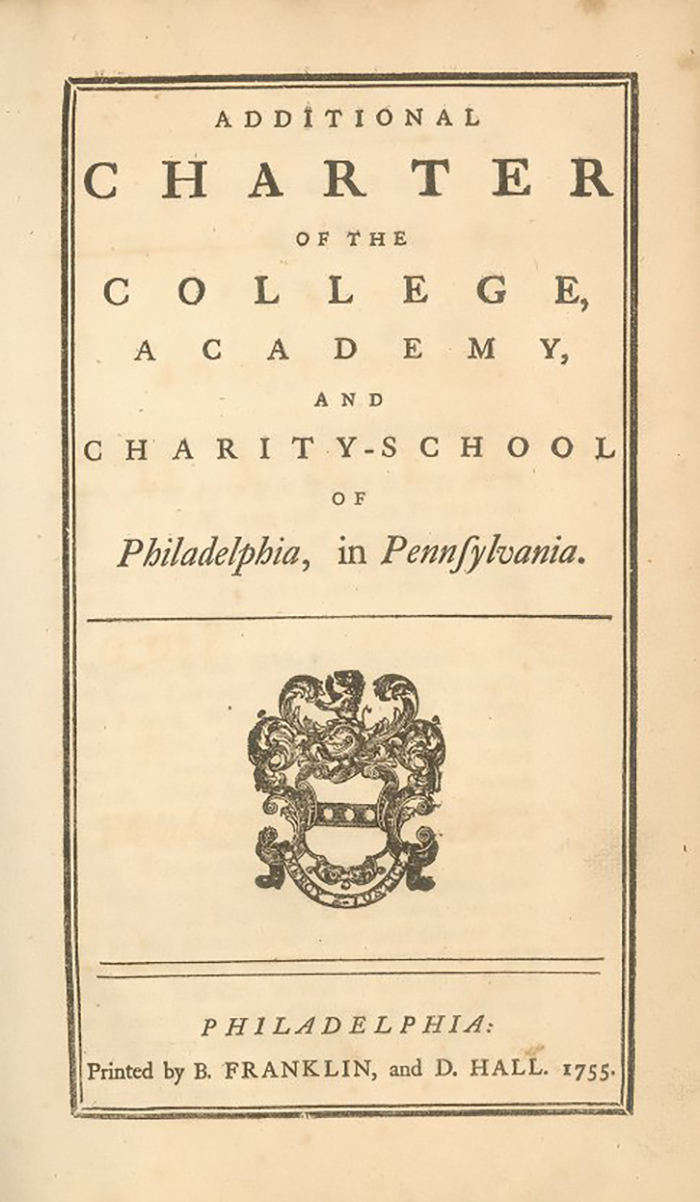 caption: Additional Charter of the College, Academy, and Charity School of Philadelphia, 1755,  version printed by Benjamin Franklin,  30 x 18 cm (12 x 7.5 in).