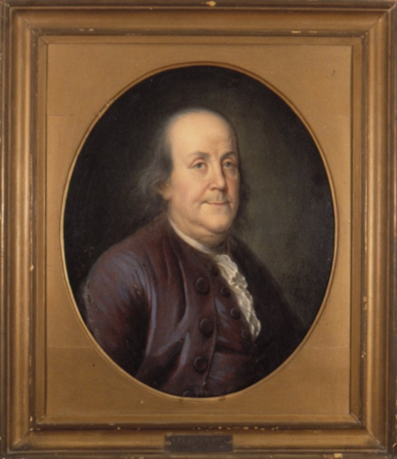 caption: Benjamin Franklin (1706-1790), founder and trustee of the University of Pennsylvania. Painting done c. 1775, supposedly from life, in Paris for Count St. Morys. It was given to the University of Pennsylvania in 1914 by  Joseph Beale in memory of his father,  Dr. Joseph Beale, Class of 1831.