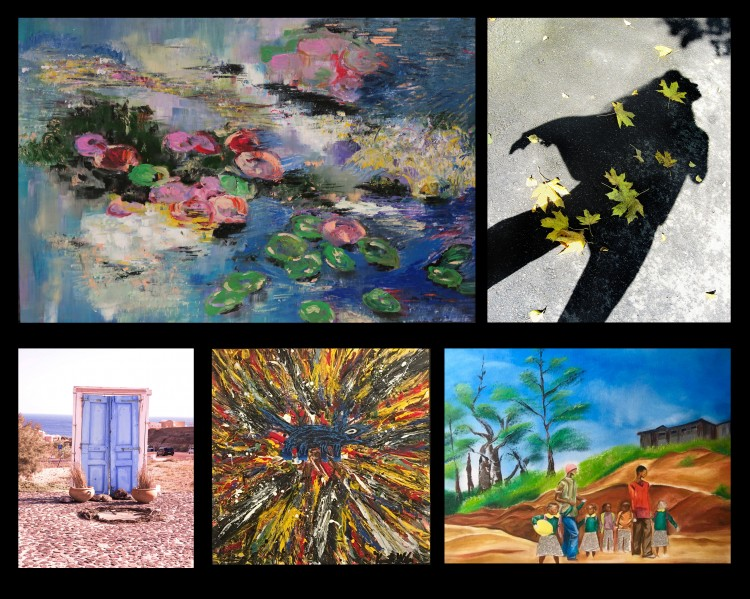 caption: (top row, l-r) Lily Pond by I.-Uen Wang Hwang; Uman by Nadine Epstein. (bottom, l-r) Greece Door by Allison Weiss Brady, Dog 1.1 by Ken Wilan, and Yellow Balloon by Cecelela Tomi.