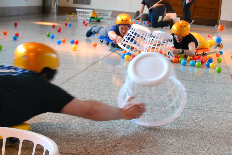 caption: Hungry, Hungry Hippos, played large, is one of six activity-filled Adventure Stations that make Family Game Night a fun experience, with games and challenges for all!