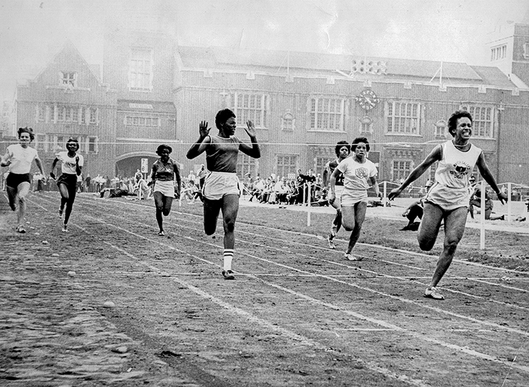 caption: The first women's race at the Penn Relays, held in 1962, was not actually a relay but the 100 meter dash, won by Willye White.