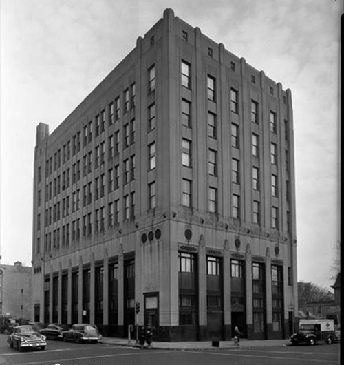 caption: The building in the 1950s. Photograph from the Free Library of Philadelphia.