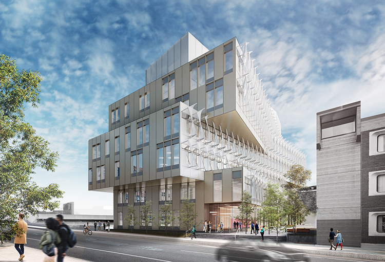 caption: Architectural rendering of the main entry to the Vagelos Laboratory for Energy Science and  Technology at 3200 Walnut Street. View looking south from Walnut Street. Courtesy of Behnisch Architekten.