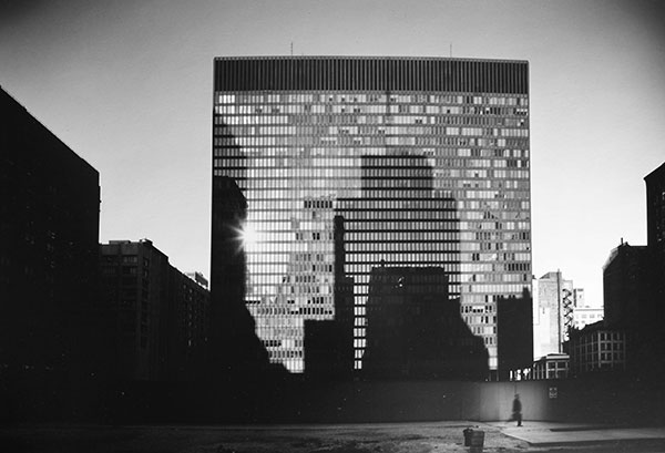 caption:Mies van der Rohe Building, Chicago, by Elliott Erwitt, 1969, a silver gelatin print from the University's Art Collection is in the ARG exhibition.