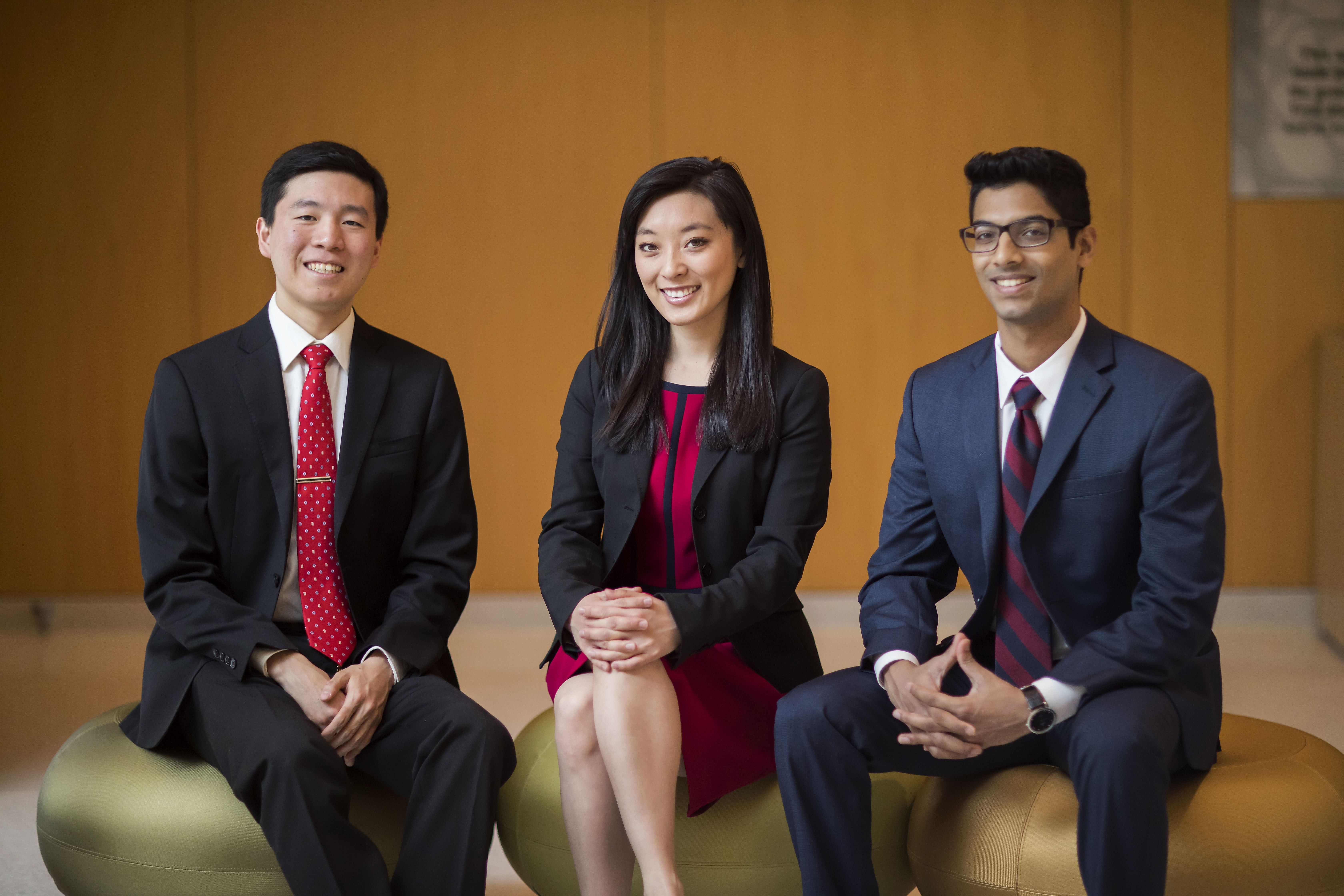 caption: Brandon Kao, Rui Jing Jiang and Adarsh Battu. Photo courtesy of the Office of the President.