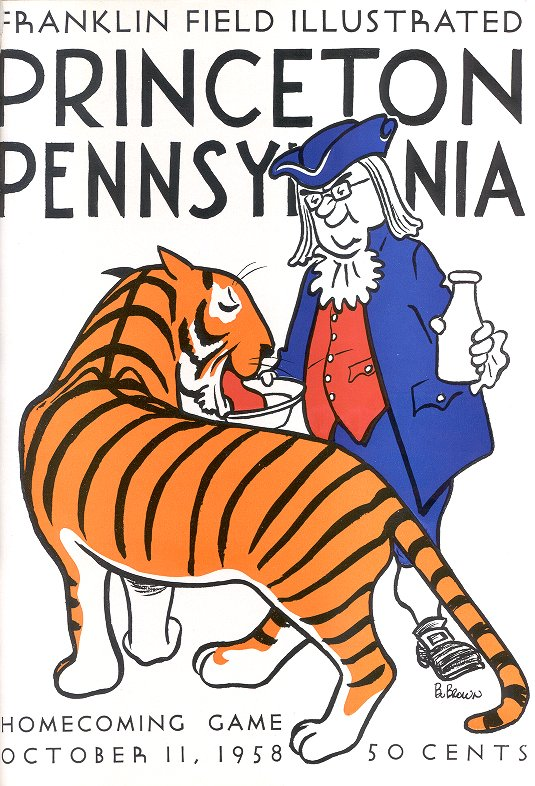 caption: This 1958 football program shows that Franklin's likeness had become part of Penn's lore.