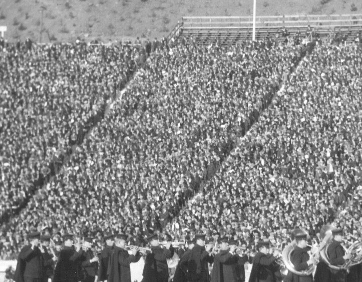 caption: The Penn Band on a football field in California in 1925.