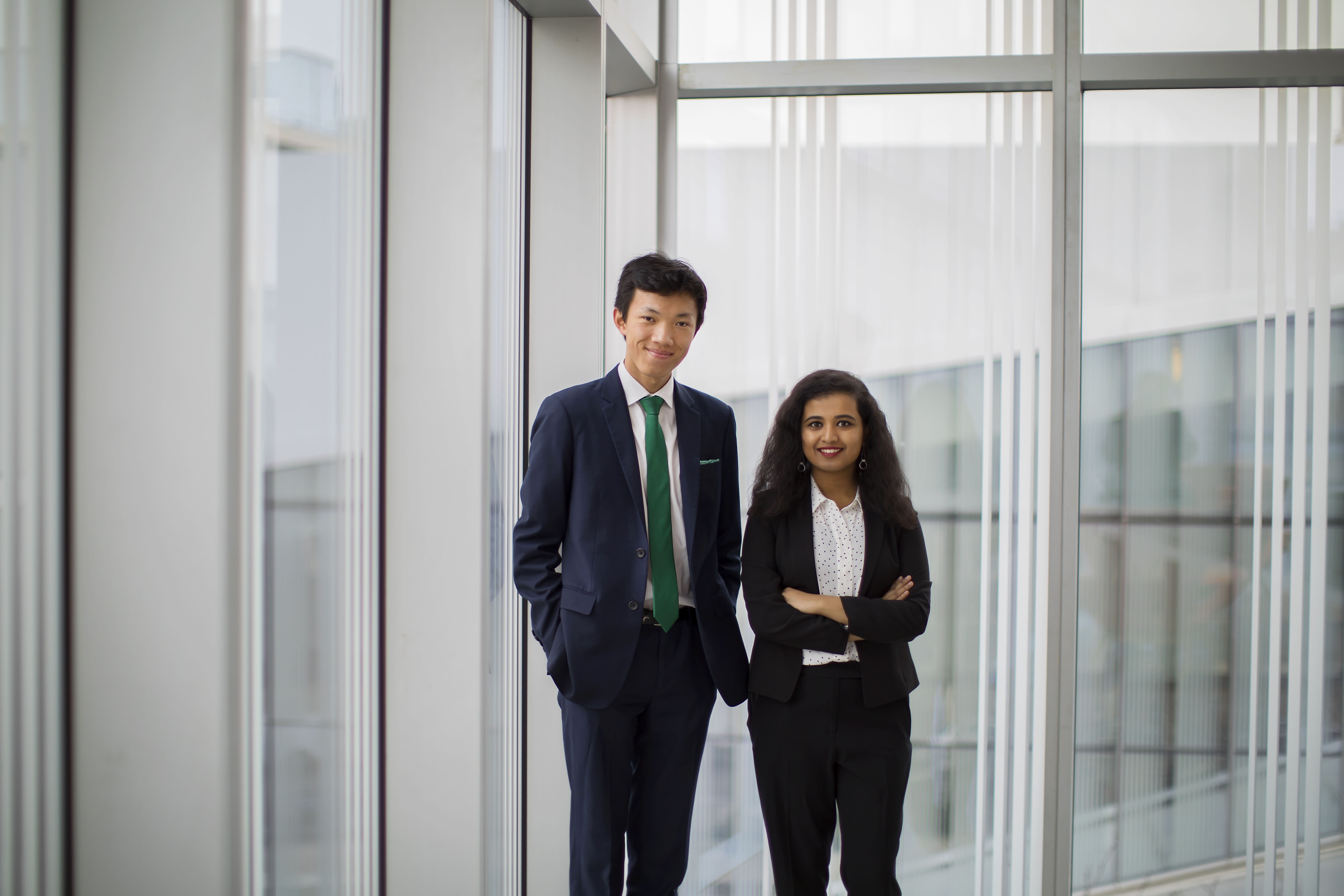 caption: Peter Wang Hjemdahl and Svanika Balasubramanian. Photo courtesy of the Office of the President.