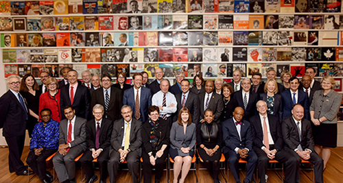 caption:Penn President Amy Gutmann (second row, third from right) joins a consortium of peer university and college presidents representing institutions that are American Talent Initiative members.
